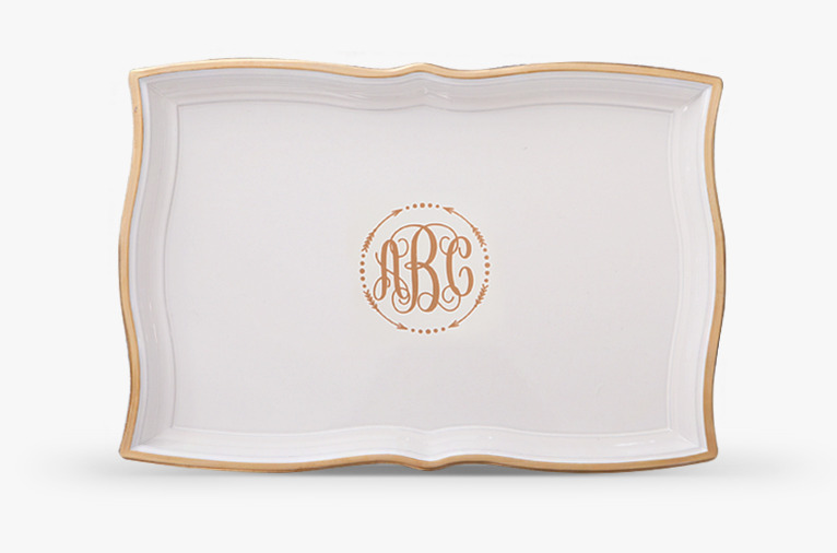 White and gold rectangle tray (HS409G-W)