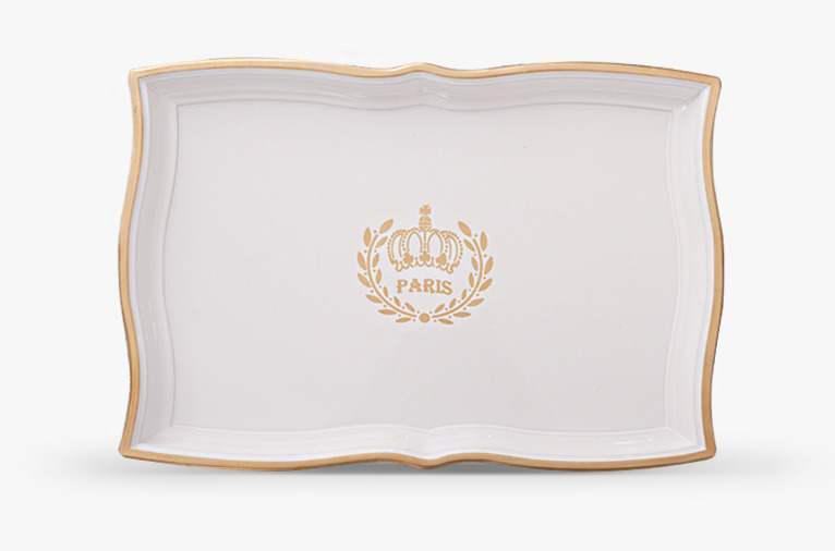 White and gold rectangle tray (HS410G-W)