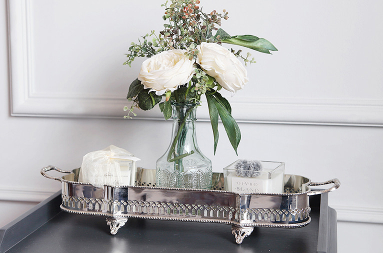 Footed nickel tray (M-5261)