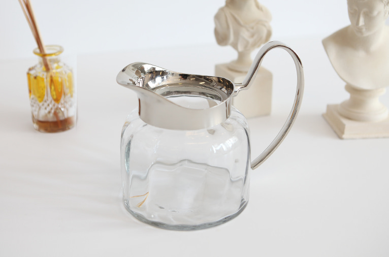 Nickel low jug with glass (68887)