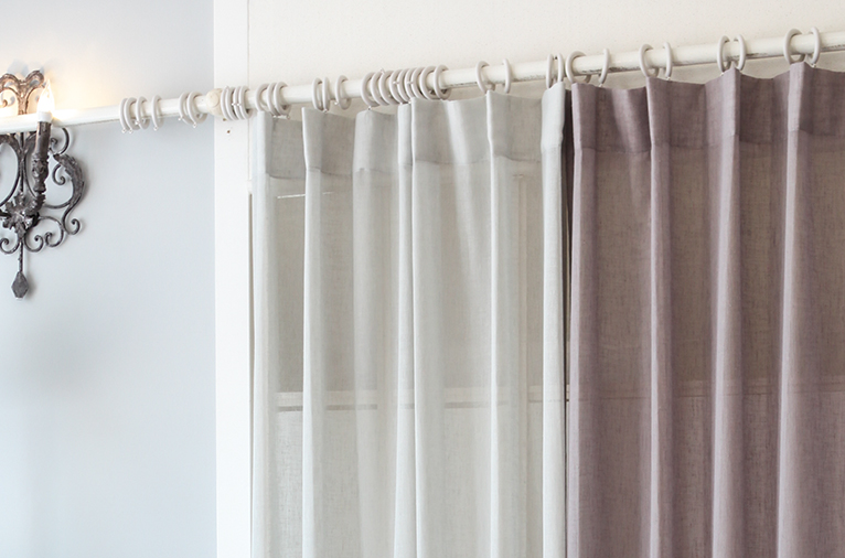 Solid linen look curtain (S-CUMV1) / (2sizes)