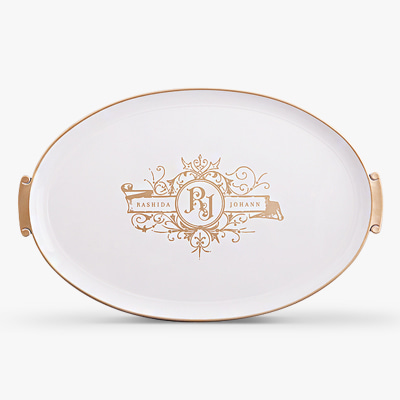Large size of white and gold tray (HS365G-W)
