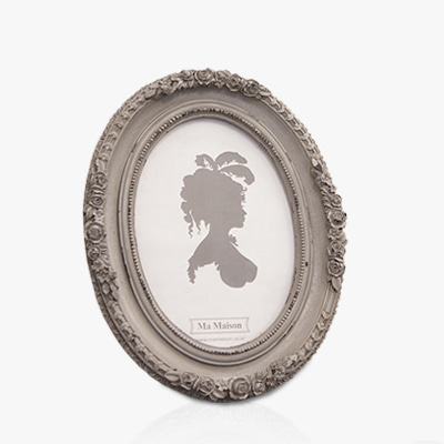 Dark grey rose sculpture photo frame (K23F383A,K23F383W)