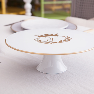 White and gold cake stand (CSP001G-W)
