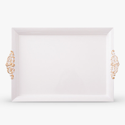 White and gold handle rectangle tray (HS313G-W)