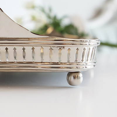 Large size baroque nickel tray (53543/L)