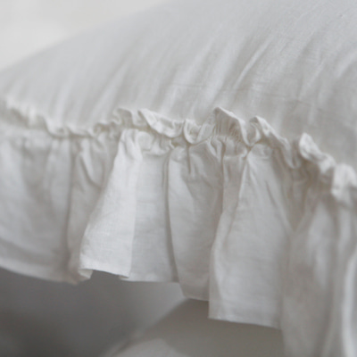 Vintage linen frill pillow cover (PCMV1)